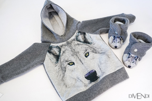 casual baby clothes with wolf